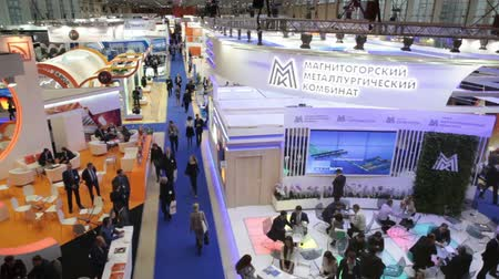 demirli : MOSCOW, RUSSIA-CIRCA DEC, 2015: Top view of show stand of Magnitogorsk metallurgical plant MMK is on the Metal-Expo 2015. Metal and Steel Market, the 21st International Industrial Exhibition was in the All-Russia Exhibition Center Stok Video