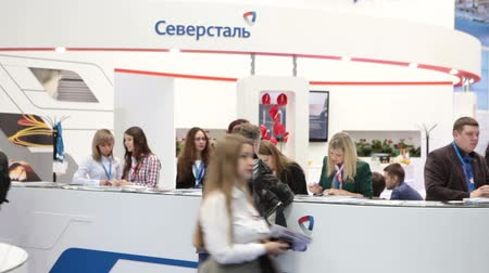 demirli : MOSCOW, RUSSIA-CIRCA DEC, 2015: Information desk of Severstal Metallurgical Company is on the Metal-Expo 2015. Metal and Steel Market, the 21st International Industrial Exhibition was in the All-Russia Exhibition Center