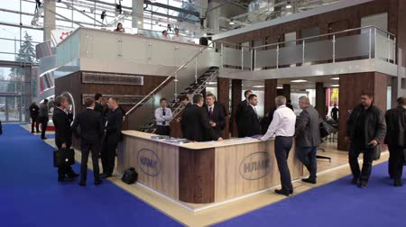 demirli : MOSCOW, RUSSIA-CIRCA DEC, 2015: Exhibition stand of NLMK (Novolipetsk) metallurgical plant is on the Metal-Expo 2015. Metal and Steel Market, the 21st International Industrial Exhibition was in the All-Russia Exhibition Center