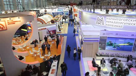 demirli : MOSCOW, RUSSIA-CIRCA DEC, 2015: Top view of the passage between the exhibition stands. The Metal-Expo 2015. Metal and Steel Market, the 21st International Industrial Exhibition was in the All-Russia Exhibition Center