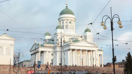 senate square : HELSINKI, FINLAND - CIRCA, DEC, 2015: Building of the Helsinki Cathedral is on the Senate Square. The Finnish Evangelical Lutheran church of the Diocese of Helsinki.