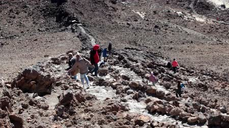 hardened lava : TEIDE, TENERIFE - CIRCA JAN, 2016: Visitors come down the rocky path on steep southeast slope of volcano. Route No. 10 is trail to the crater of Teide, Spains highest peak.
