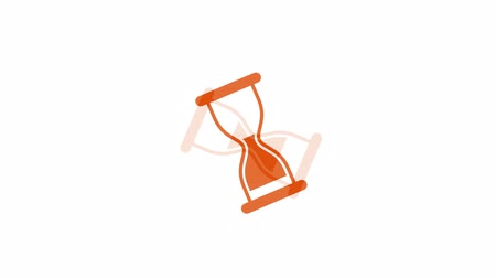 sandálias : Orange sand clock fly in out and flip on white background time interval symbol. Digital video animation HD 1080.