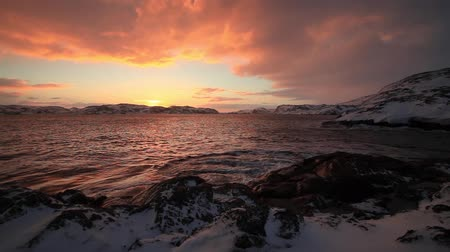chukchi : Dramatic sky over the stormy sea in the north Stock Footage