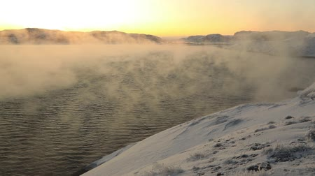 chukchi : Misty stormy sea in a severe frost. The Barents Sea