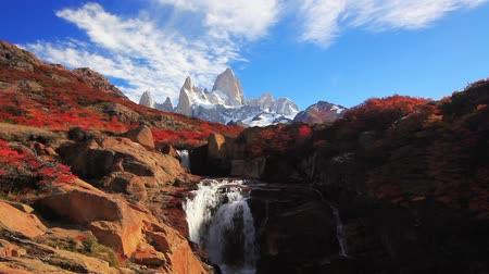 speedway : Beautiful view with waterfall and Fitz Roy mountain. Patagonia Stock Footage