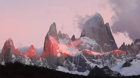 speedway : Mount Fitz Roy at dawn. Argentina, Patagonia. Stock Footage