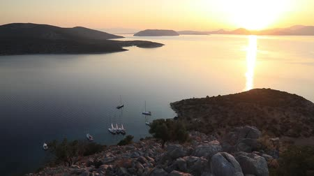 saronic : Sunset on the beautiful island of Dokos , Greece
