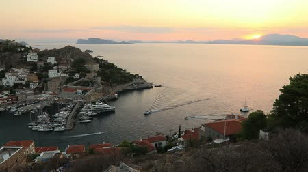 saronic : Beautiful sunset of Hydra island, Greece Stock Footage