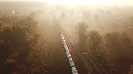 Cargo train at sunrise in the fog. View from the drone Стоковые видеозаписи