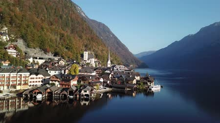 steeples : Beautiful landscape of Hallstatt village and Lake Hallstatt in Austria Stock Footage