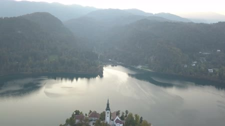 Aerial video. Flight over Lake Bled in Slovenia Стоковые видеозаписи