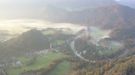 assumption : Aerial video. Flight over Lake Bled in Slovenia Stock Footage