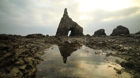 Campiecho Sea Arch at Asturias coastline, Spain, Bay of Biscay Стоковые видеозаписи