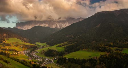 dolomite : Santa Maddalena village in front of the Geisler, Val di Funes, Italy, Europe.