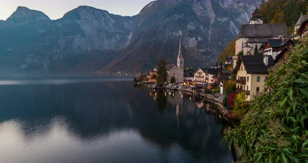 Sunrise view of Hallstatt mountain village with Hallstatter lake, Austria.