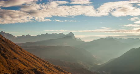 dolomit : Timelapse of beautiful sunrise from Passo Pordoi. Dolomites, Italy Stok Video