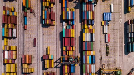 tersane : Industrial Cargo area with container ship in dock at port, Aerial view Stok Video