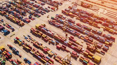 Industrial Cargo area with container ship in dock at port, Aerial view Стоковые видеозаписи