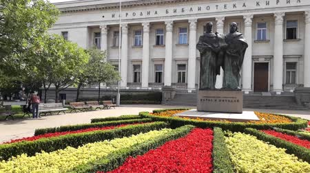 sofia : SOFIA, BULGARIA - AUGUST 29: Panoramic footage of National Library and Cyril and Methodius monument in Sofia, Bulgaria. Stock Footage