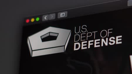 эмблема : Tallinn  Estonia - May 12, 2019  US Dept of Defense website homepage. Close up of Pentagon logo. Can be used as a web site.