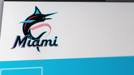 série : Miami  USA - 04.20.2019: Baseball Team Miami Marlins website homepage. Close up of team logo. Can be used as an illustrative for news or marketing concept.