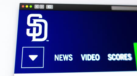 pitcher : Miami  USA - 04.20.2019: Baseball team San Diego Padres website homepage. Close up of team logo. Can be used as an illustrative for news or marketing concept. Stock Footage
