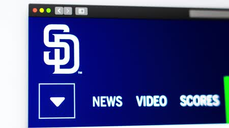 fama : Miami  USA - 04.20.2019: Baseball team San Diego Padres website homepage. Close up of team logo. Can be used as an illustrative for news or marketing concept. Stock Footage