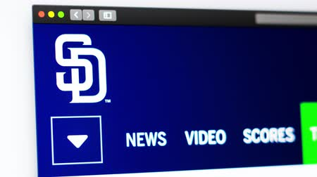 un : Miami  USA - 04.20.2019: Baseball team San Diego Padres website homepage. Close up of team logo. Can be used as an illustrative for news or marketing concept. Stok Video