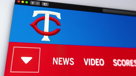 un : Miami  USA - 04202019: Baseball team Minnesota Twins website homepage. Close up of team logo. Can be used as an illustrative for news or marketing concept.