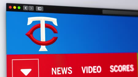 fama : Miami  USA - 04202019: Baseball team Minnesota Twins website homepage. Close up of team logo. Can be used as an illustrative for news or marketing concept.