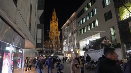 MUNICH, GERMANY - NOV 20 2018: New Town Hall on Marienplatz in Munich city. Night time. 4k footage.