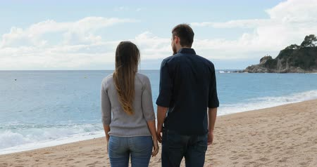 destino : Back view of a happy couple walking holding hands on the beach in a sunny day