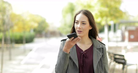 there : Front view of a happy woman walking using voice recognition on smart phone in a park Stock Footage