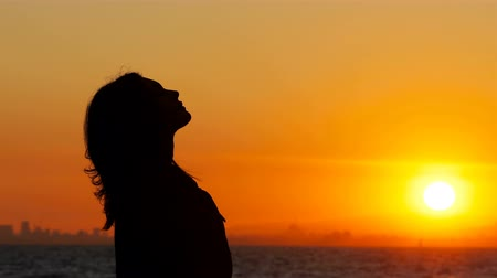 sentimentos : Profile silhouette of a woman breathing fresh air at sunset on the beach