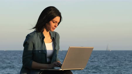 on site research : Serious woman using a laptop sitting on the beach at sunset