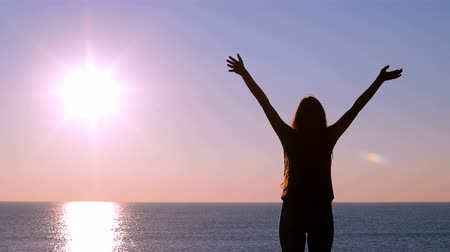 breathing fresh air : Back view of a happy woman raising arms at sunrise on the beach Stock Footage