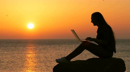 nazomer : Side view portrait of a woman silhouette using laptop at sunset on the beach