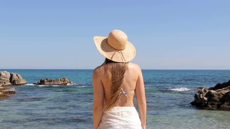 Back view of a tourist reaching the beach contemplating ocean on vacation