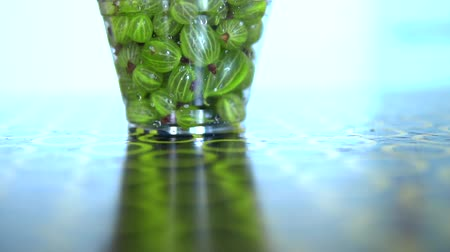 agrest : Glass filled with gooseberries turns on the spot .macro