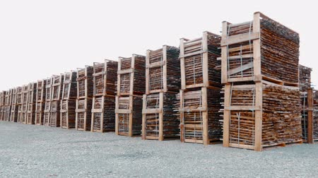 planking : Warehouse wooden beams on the street. Sawmill. Wooden boxes with bars. Wooden pallets with wood. Stock Footage