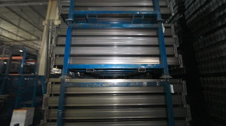 alaşım : Warehouse of metal profiles . The profile to create the warehouse. metal pipe Stok Video