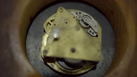radertjes : clock mechanism close-up. vintage watch back. spinning gears in the clockwork. Spring clock..Watch mechanism macro