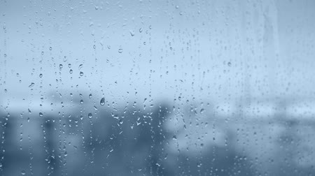 rainy : Rain drops with very soft focus in blue Stock Footage