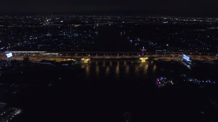 aerial view of bangkok city in the night at the chaophaya river Stock Footage