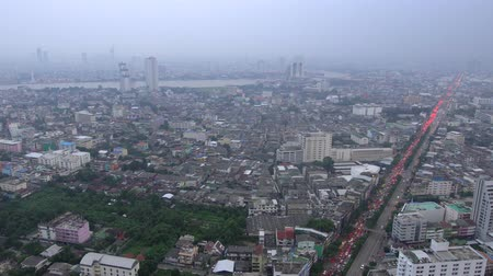 aerial view of traffic jam in bangkok city at evening
