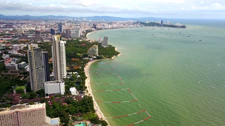 Pattaya strand luchtfoto Stockvideo