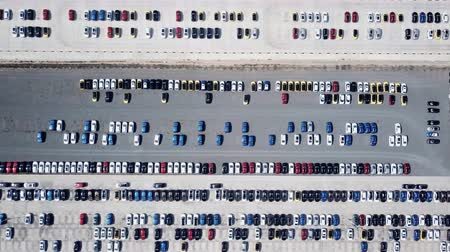 aerial view of new cars parking for import and export.