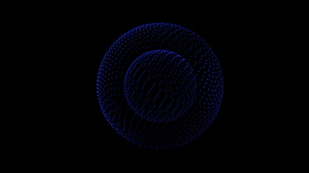 loga : Intro blue yellow pink magenta dust bubble particles zoom out and making revolving circles. color particles loop. Particles animation. moving glowing particles isolated black background.