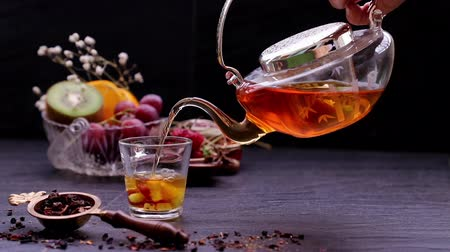 maravilhoso : The wonderful moment of fruit tea pouring into a cup with fruits, it give a feeling fresh and relaxing time from fruit essential oil while drinking. Stock Footage
